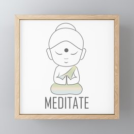 Gautama buddha sitting in lotus position with a message to Meditate Framed Mini Art Print