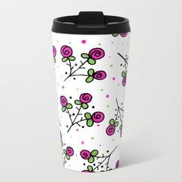 Rose Sprig Pattern Metal Travel Mug