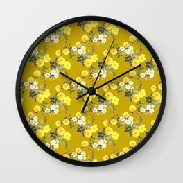 Fall Floral / Roses on mustard Wall Clock