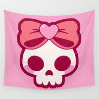 bow Wall Tapestries featuring Skull Bow by Katie White