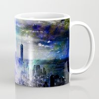new york skyline Mugs featuring New York Skyline by haroulita