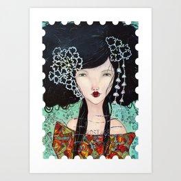 Geisha1Stamp Art Print