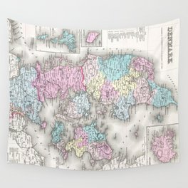 Vintage Map of Denmark (1855) Wall Tapestry