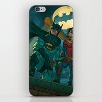 justice league iPhone & iPod Skins featuring bat man the watch men justice league man of steel by Brian Hollins art