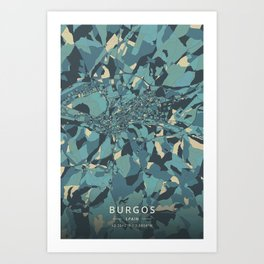 Burgos, Spain - Cream Blue Art Print