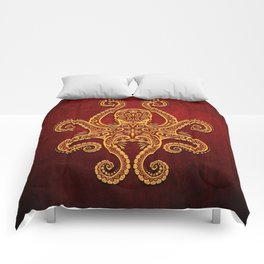 Intricate Red and Yellow Octopus Comforters