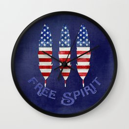 American Flag Stars and Stripes Free Spirit Feather Wall Clock