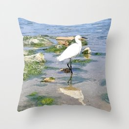 A Heron by the sea Throw Pillow
