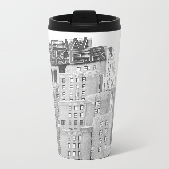 New Yorker Sign - NYC Black and White Metal Travel Mug