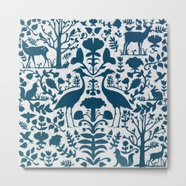 Folk Art Pattern Blue Teal on Gray Metal Print