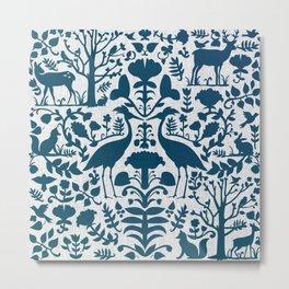 Folk Art Pattern Blue Teal on Gray Metal Print