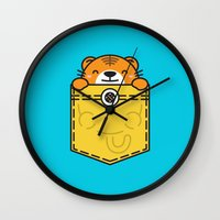 pocket Wall Clocks featuring Pocket Tiger by Steven Toang