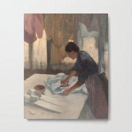 Woman Ironing Metal Print
