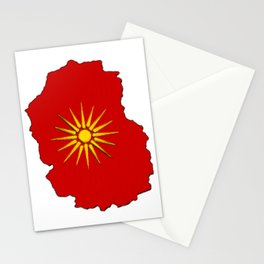 Macedonia Map with Macedonian Flag Stationery Cards