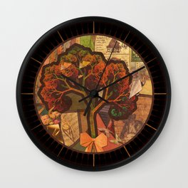 Beautiful Fractal Collage of an Endless Origami Autumn Wall Clock