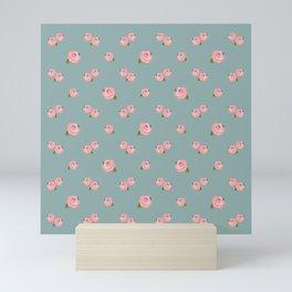 Pink Roses Repeat Pattern on Teal Mini Art Print