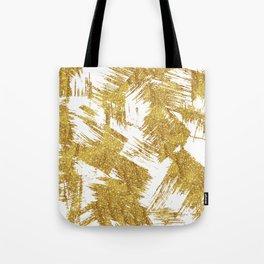 Elegant faux gold glitter brushstrokes pattern Tote Bag