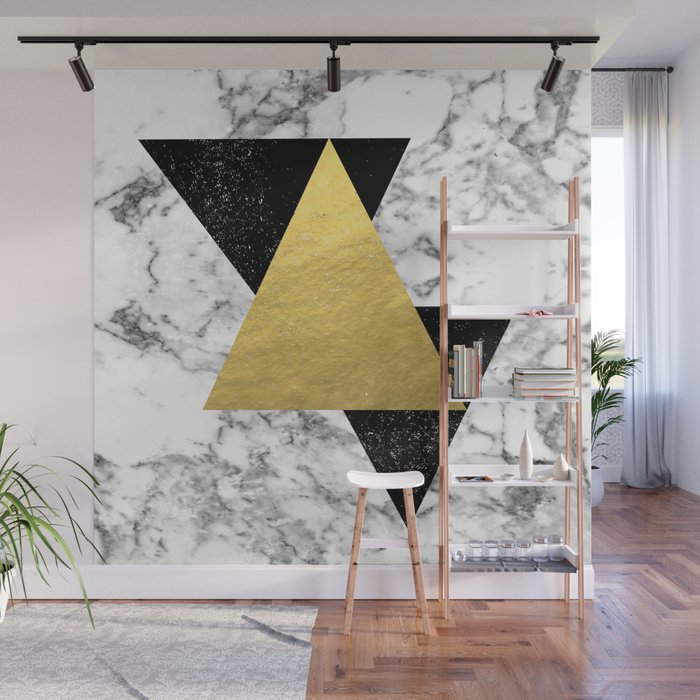 Delph Abstract Triangles And Marble Painting Gold Black And White Minimalist Nursery Dorm College Wall Mural By Charlottewinter