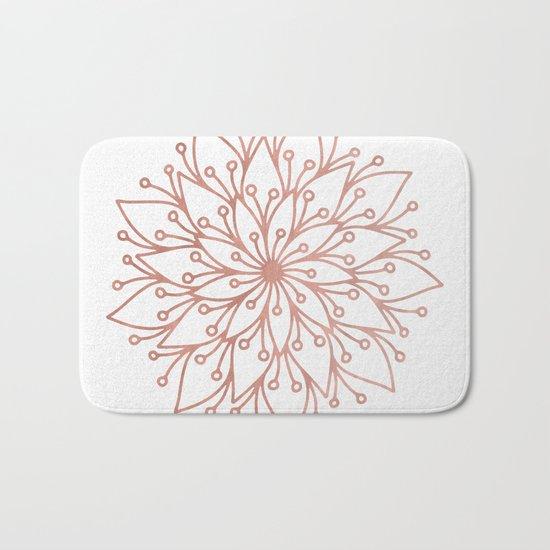 Mandala Blooming Rose Gold on White Bath Mat