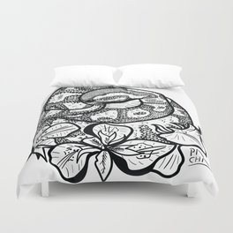 Python and iris flowers Duvet Cover