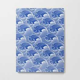 Vintage Japanese Waves, Cobalt Blue and White Metal Print