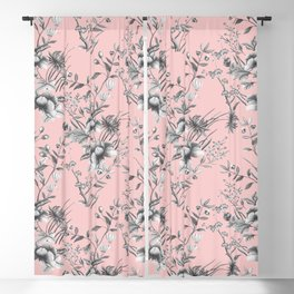 Chinoiserie Flowers Millennial Pink Blackout Curtain
