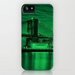 New York City - Brooklyn Bridge Green Twilight - Pop Art Panorama - Jéanpaul Ferro - iPhone Case