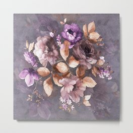 Vintage Mauve Wall Flowers Metal Print