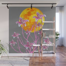 GREY PINK ASIATIC STAR LILIES MOON FANTASY Wall Mural