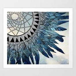 blue feather dreamcatcher Art Print