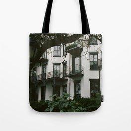 White Brooklyn Building Tote Bag