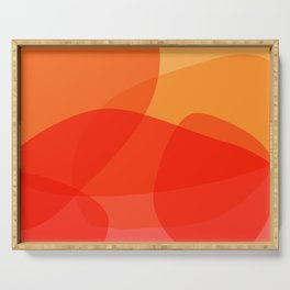 Abstract Organic Shapes in Red Serving Tray