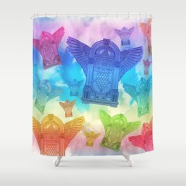 Vintage Flying Jukebox Rainbow Shower Curtain