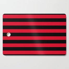 Black and Apple Red Medium Stripes Cutting Board