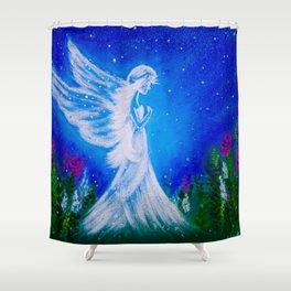 Angel at night  Shower Curtain