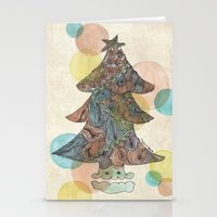 christmas tree Stationery Cards featuring Christmas Tree by sinonelineman