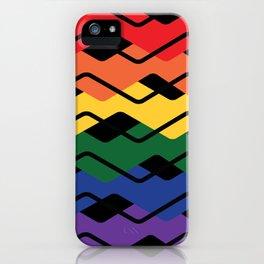 LGBT Rainbow Waves Flat Design Black iPhone Case