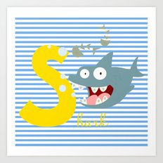 s for shark Art Print