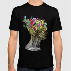 Bright neon pink yellow abstract anatomical skull LARGE Mens Fitted Tee Black