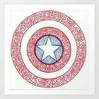 superheros Art Prints featuring The Shield by Katie Kephart