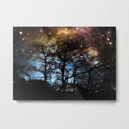 Black Trees Dark Colorful Space Metal Print