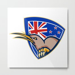 Kiwi Bird New Zealand Flag Shield Retro Metal Print