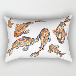 Koi Fish Pond white Rectangular Pillow