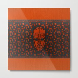 Aboriginal Mask and pattern - Black and Orange Leather work Metal Print