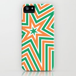 Geometric Star Line Art Orange Green iPhone Case
