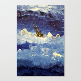 boat in the storm Canvas Print
