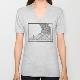 Fire on Foot Island Unisex V-Neck