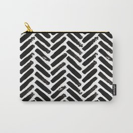 Painted Herringbone Stripe \\ Black & White Carry-All Pouch