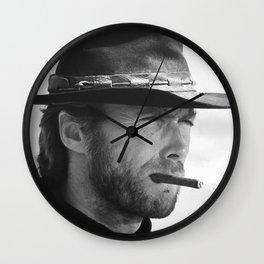 Clint Eastwood Smoking a Cigar Retro Vintage Art Wall Clock