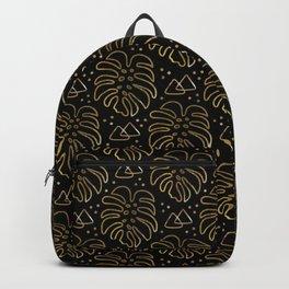 Gold Monstera on Black Backpack